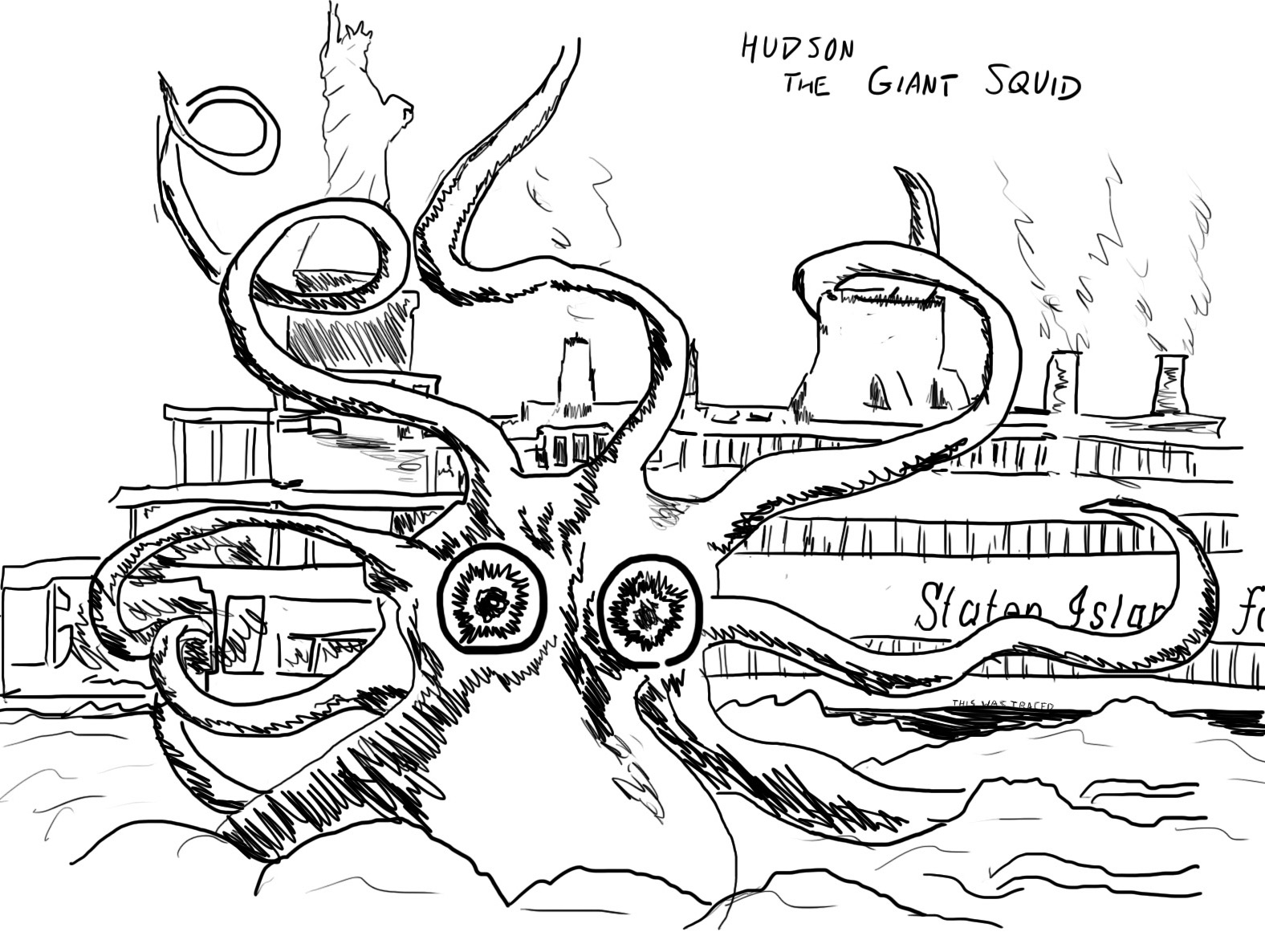 giant squid coloring pages - giant squid vs sperm whale pages coloring pages